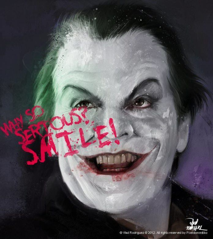 Photoshop artist Vlad Rodriguez paints Jack Nicholson as the Joker from Batman with an evil grin