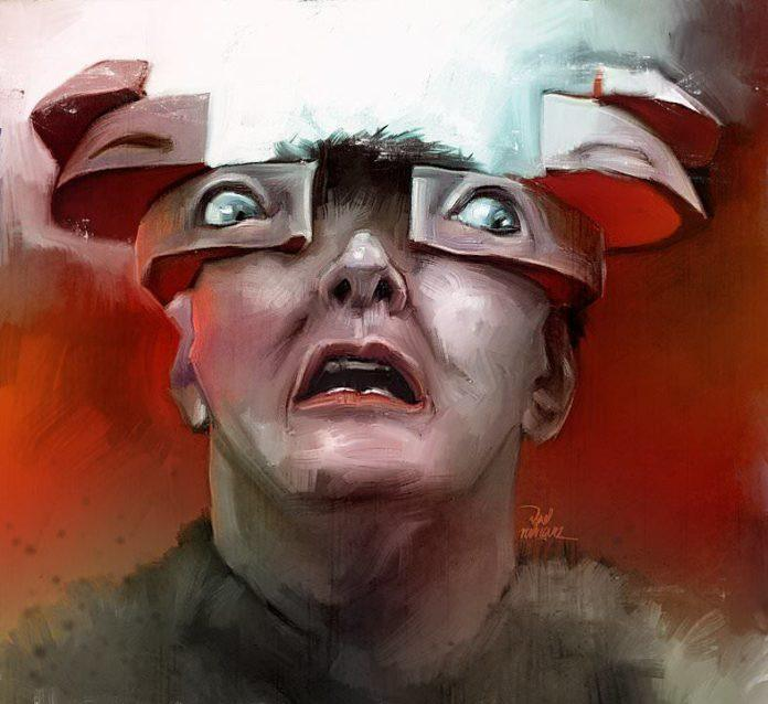 Photoshop fan art painting by Vlad Rodriguez based on the cult film Total Recall