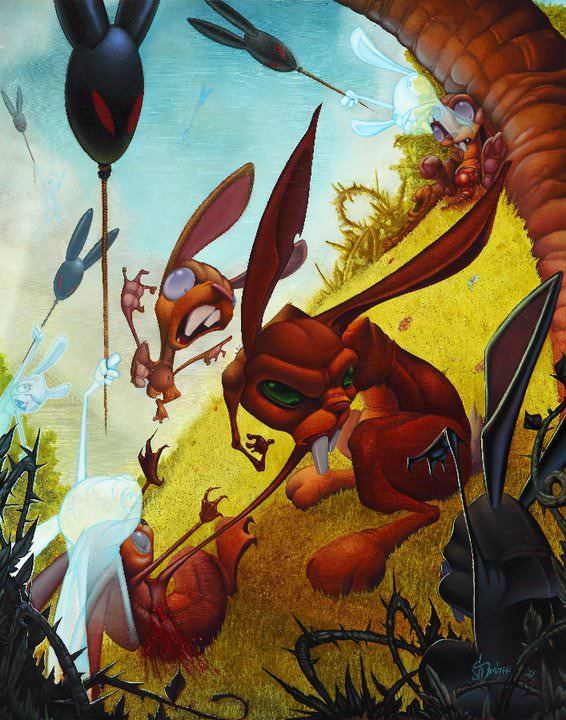 Tattoo artist Jesse Smith paints a rabbit war in a new school art style