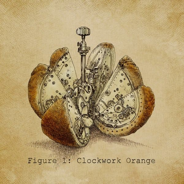 This antique style illustration by Eric Fan shows a humorous take on the cult film A Clockwork Orange