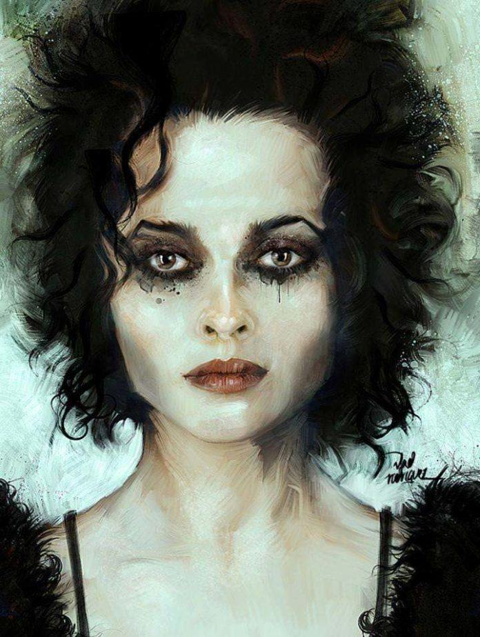 Vlad Rodriguez paints a fan art portrait of Helena Bonham Carter in the popular movie Fight Club