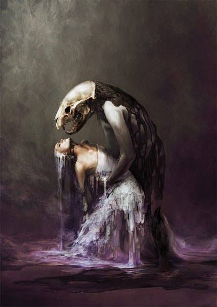 A beautiful woman faints in the embrace of a skull headed man in this dark surrealist painting by Ryohei Hase