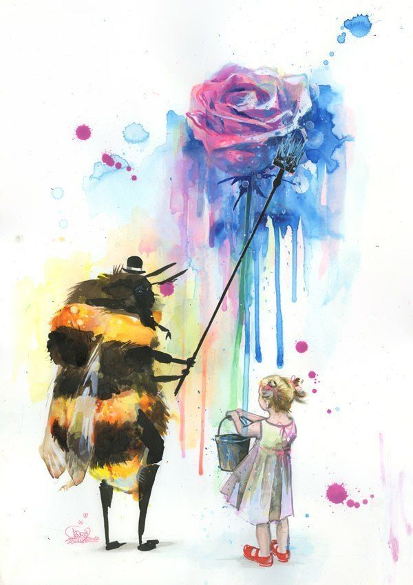A bee paints a rose for a little girl in this splatter watercolor painting by Lora Zombie