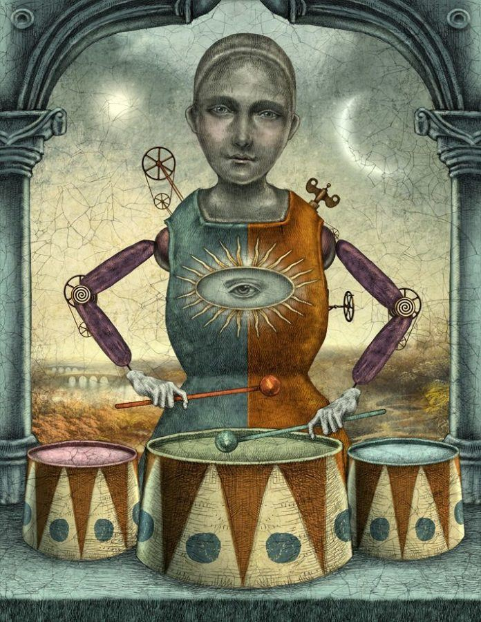 A clockwork drummer comes to life in this antiquated fairy tale illustration by Julian de Narvaez