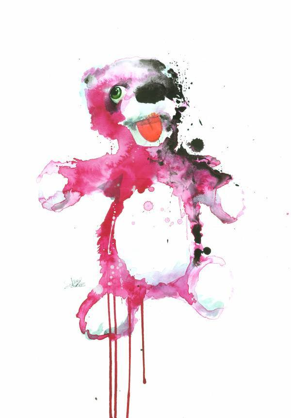 A cute pink teddy has a dark side in this splatter watercolor painting by Lora Zombie