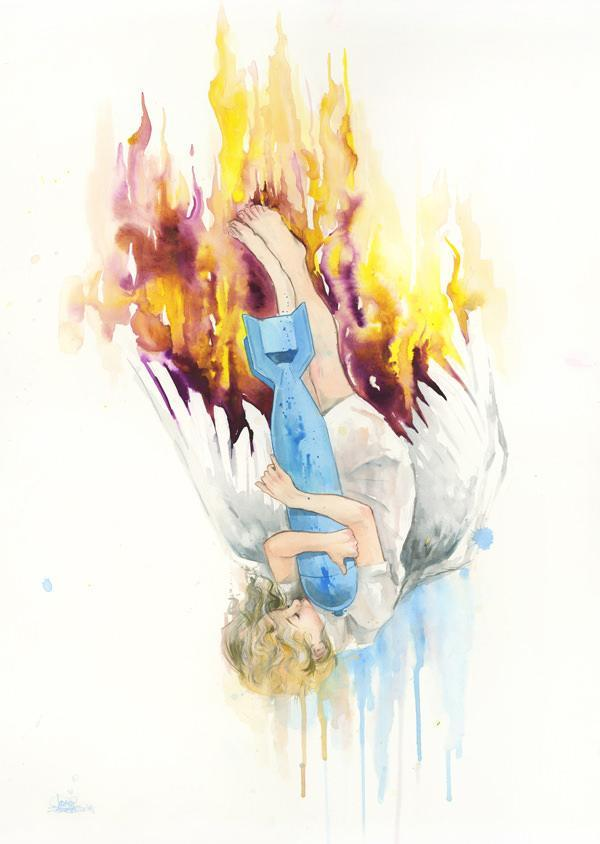 A fallen angel hugs a bomb in this beautiful yet sinister watercolor painting by Lora Zombie