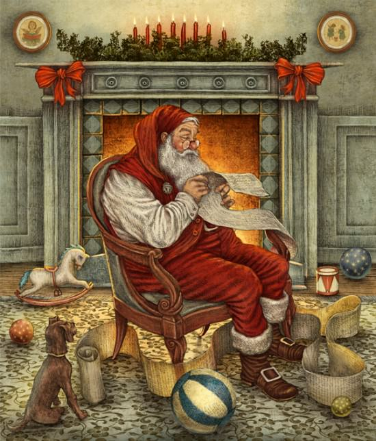A fatherly Santa Claus sits and reads a child's letter in this antiqued Christmas illustration by Julian de Narvaez