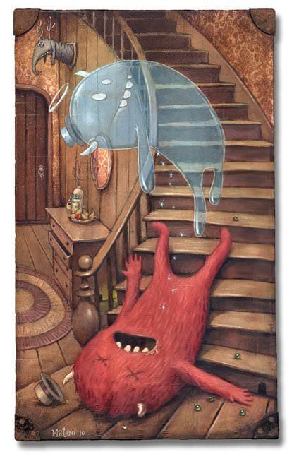 A fluffy monster gives up the ghost in this pop surrealist painting on a found object by Matteo Dineen
