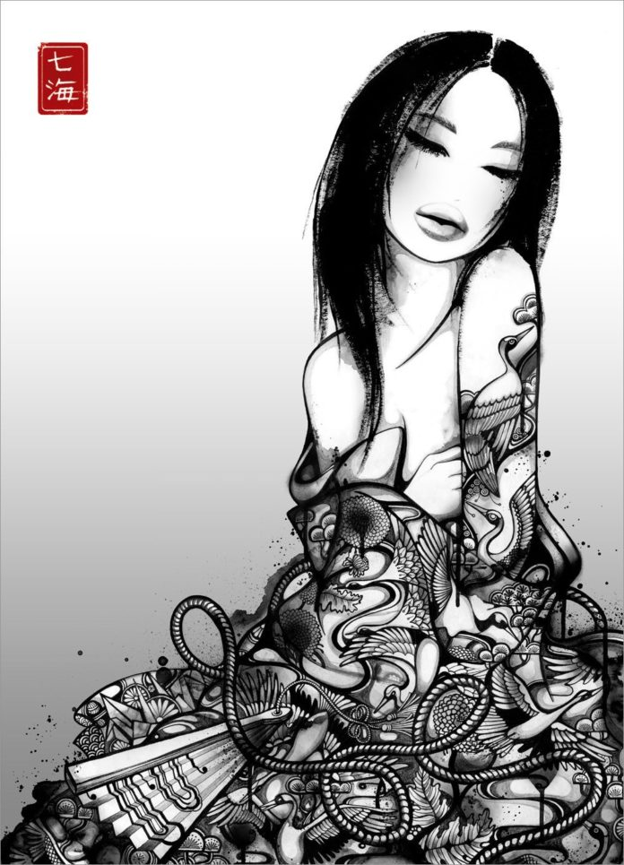 A geisha sits in a robe that comes to life in this black and white, highly detailed illustration by Nanami Cowdroy