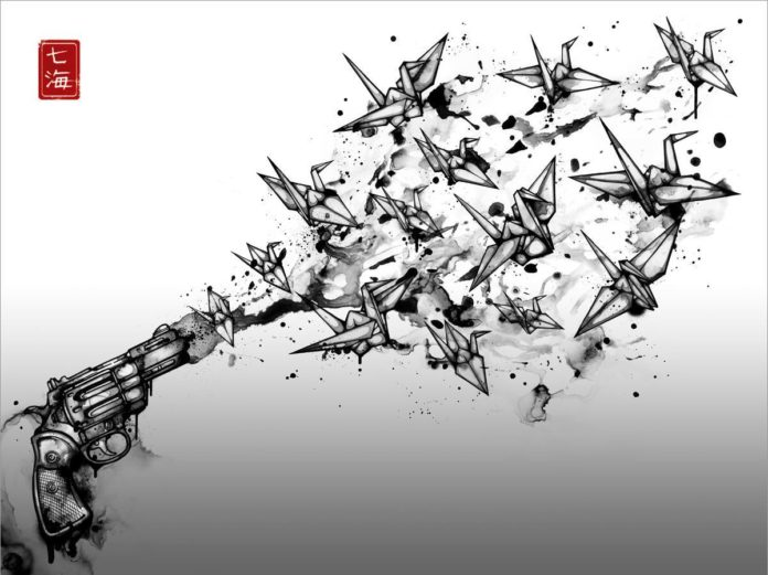 A gun shoots origami birds into the air in this powerful illustration by Nanami Cowdroy