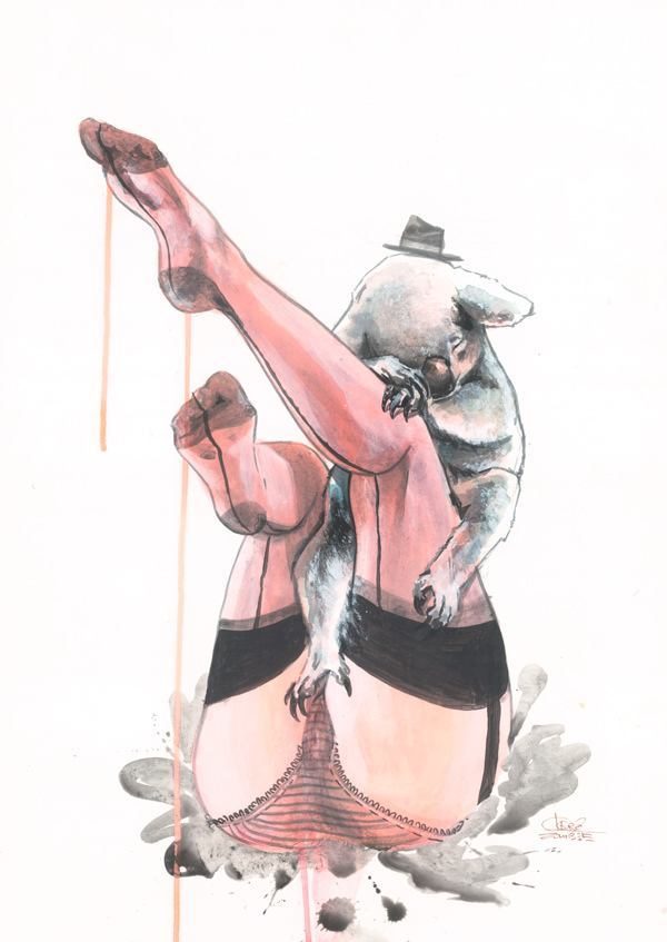 A koala bear poses with a woman in lingerie in this risque watercolor painting by Lora Zombie