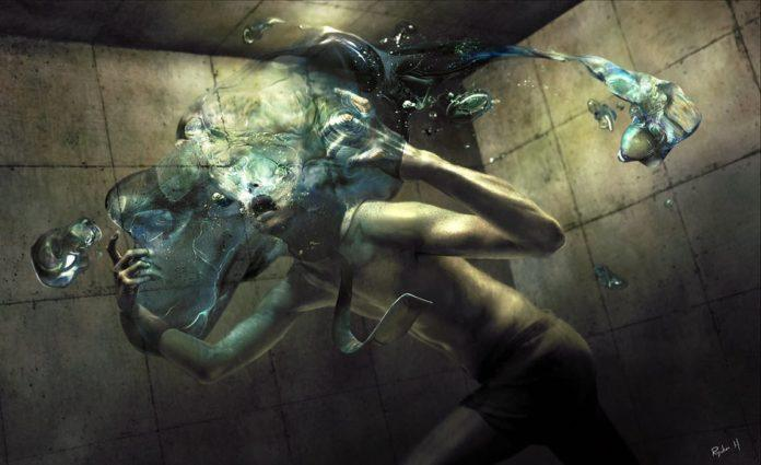 A man dissolves into water in this dark and twisted surrealist painting by Ryohei Hase