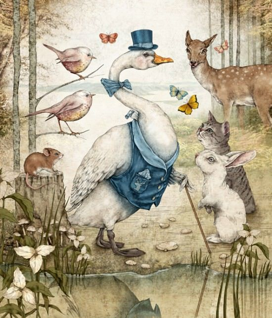 A personified goose struts his stuff for the animals of the forest in this childrens book illustration by Julian de Narvaez