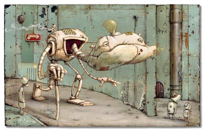 A rusty olf robot walks doen the road in this found object pop surrealist painting by Matteo Dineen