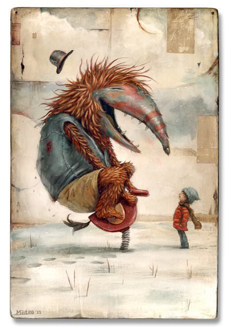 A scruffy monster has fun on a kids playground toy in this pop surrealist painting by Matteo Dineen