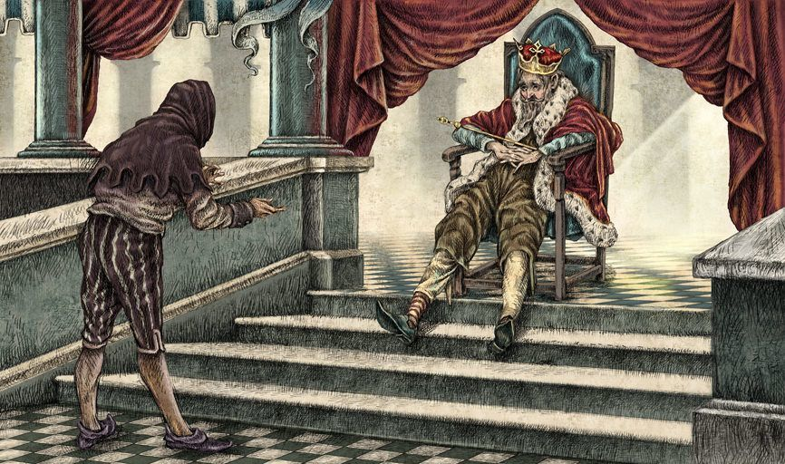 A tired old king watches a peasant talking in this ...