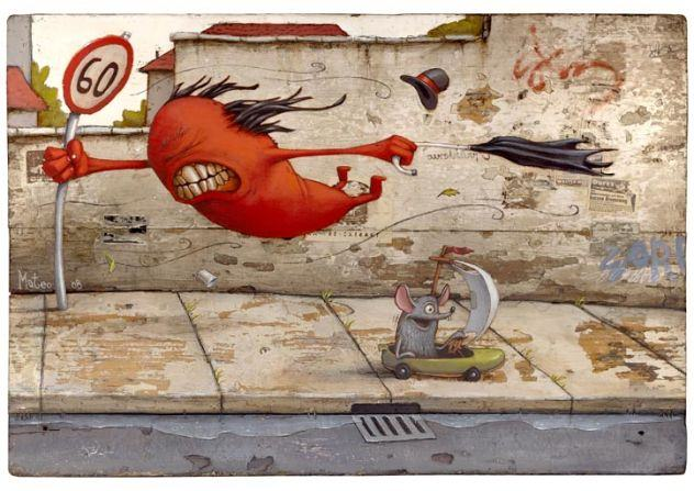 Artist Matteo Dineen expresses how frustrating a windy day can be in this cute monster painting