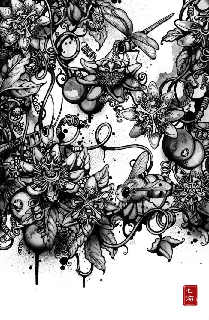 Insects visit passion flowers in this intricate and beautiful illustration by Nanami Cowdroy