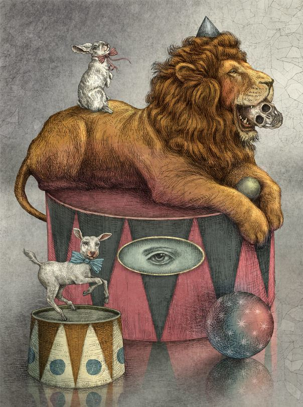 Magic and mysticism are portrayed in this illustration of a lion, a lamb and a rabbit by Julian de Narvaez