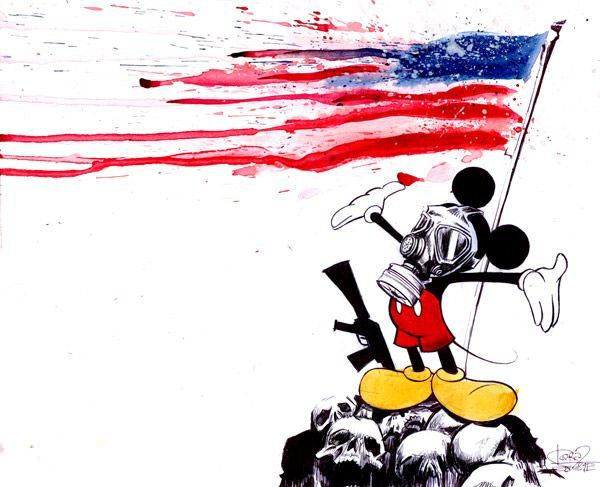 Mickey mouse wears a gas mask while the American flag dissolves in this punk watercolor painting by Lora Zombie