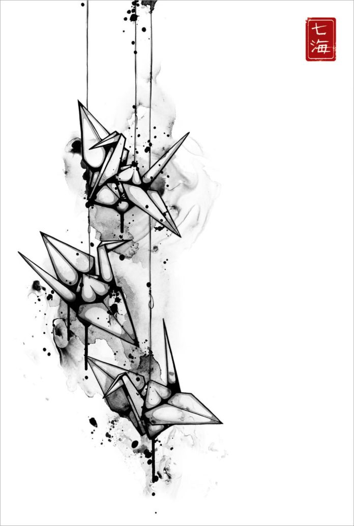 Nanami Cowdroy's eurasian art style is apparent in this black and white illustration of origami cranes