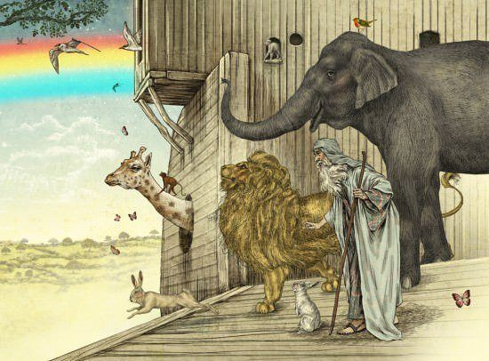 Noah stands on his ark with his animals and watches teh floods clear in this Bible story illustrations by Julian de Narvaez