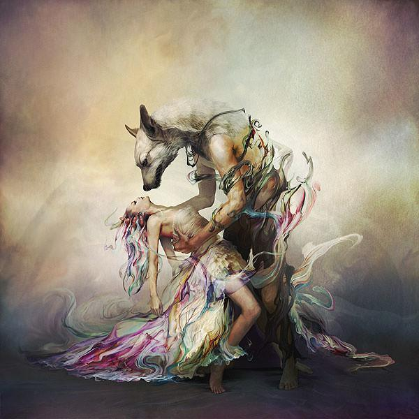 Ryohei Hase brings Beauty and the Beast to life in this sensual surrealist painting of a woman and man animal hybrid