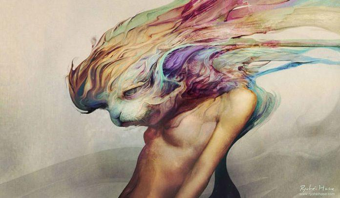 Ryohei Hase creates a surrealist scene with a cat, woman and asbtract emotional colors