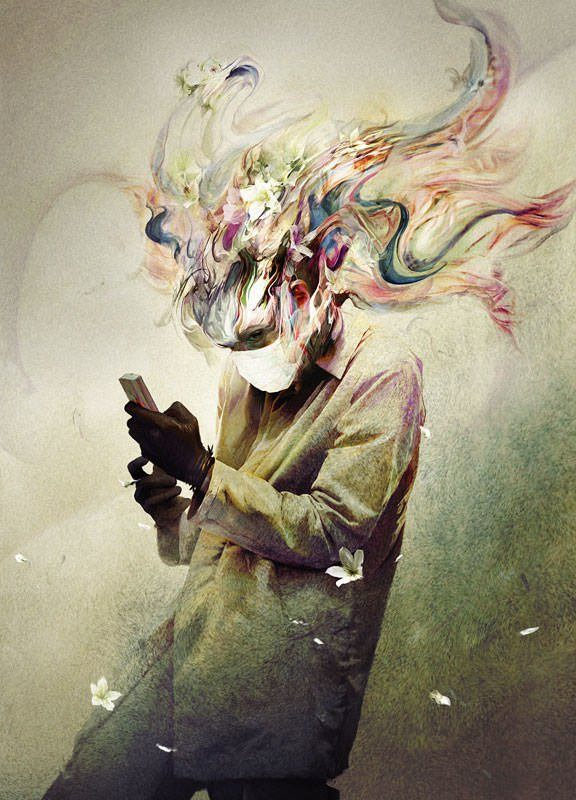 Ryohei Hase paints a man in a medical mask surrounded by emotive colors and abstract shapes
