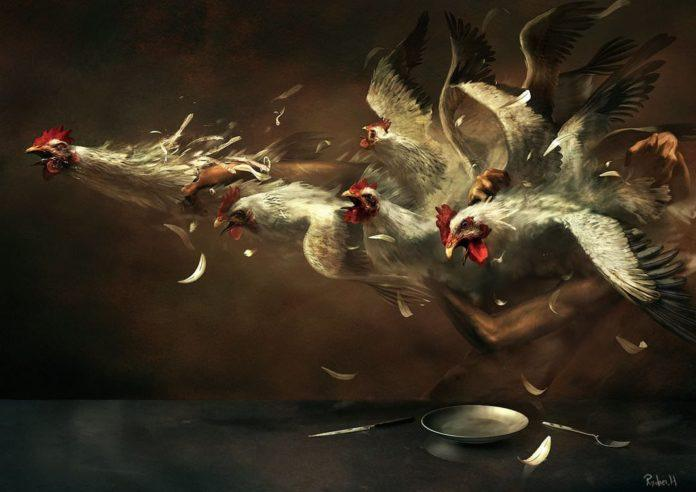Ryohei Hase shows his skill with dark surrealism in this obscure painting of a person wrestling with chickens at the dinner table
