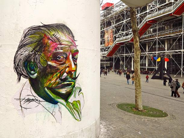 Salvador Dali gets a makeover in this street art portrait by graffiti artist Hopare