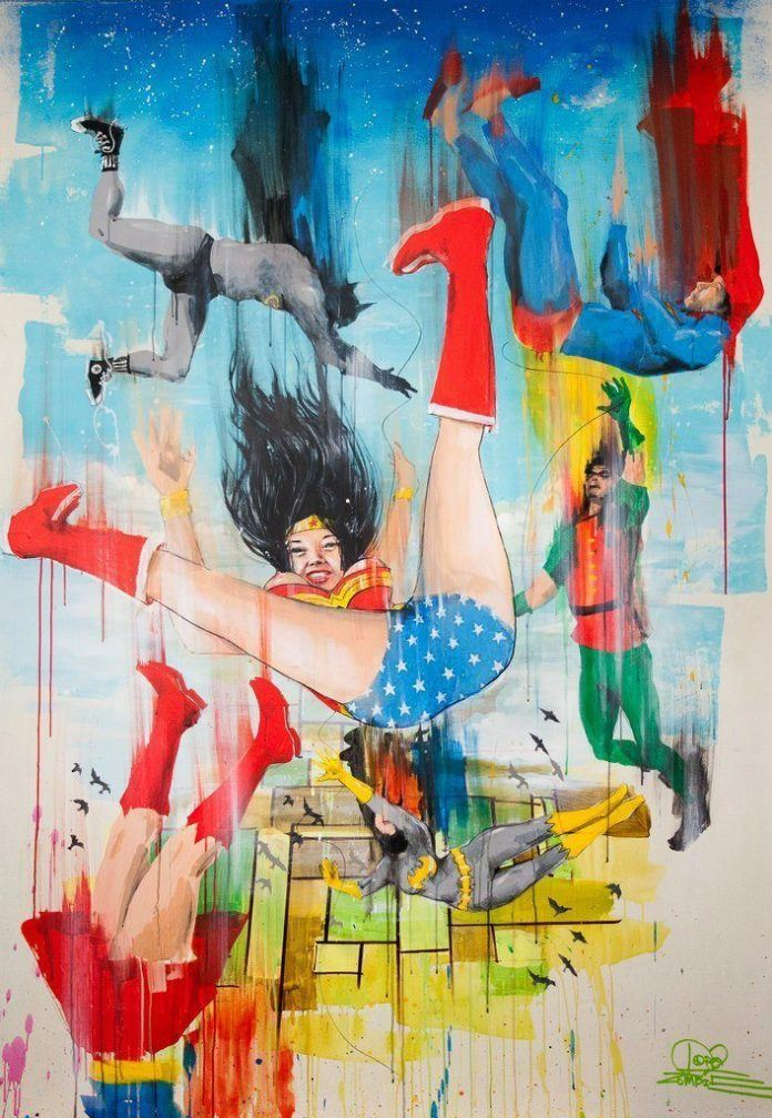 Superheroes fall from the sky in this colorful watercolor painting by Lora Zombie