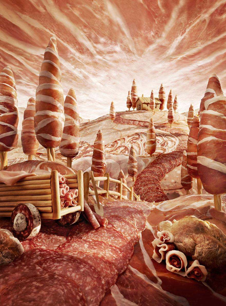British artist Carl Warner has used cold meats and bread sticks to create a fantasy food landscape