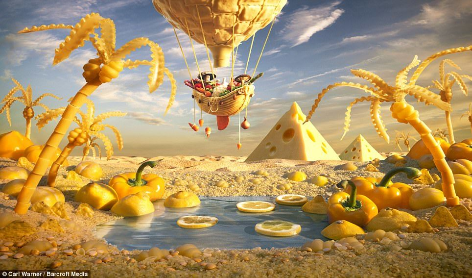 Chris Warner has used macaroni and cheese to create this Egyptian landscape for a hot air balloon to explore