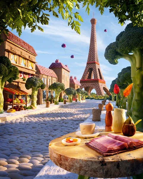 Not only is the food on the table edible, the table is edible too. This foodscape of Paris is by Carl Warner.
