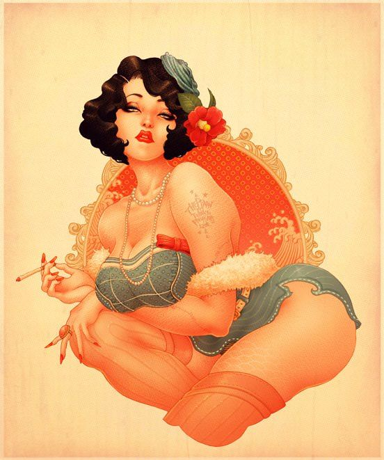 A boobalicious vintage babe poses seductively in this art nouveau pin up illustration by Oneq Nao