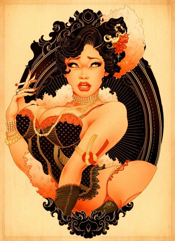 A buxom pin-up girl poses in a corset and pearls in this art nouvea pop art illustration by Oneq Nao