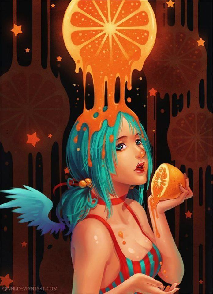 A girl with blue hair is covered in orange juice in this colorful painting of summer by Qing Han