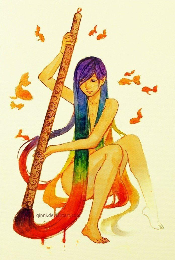 A girl with rainbow color hair paints herself into being in this watercolor painting by Qinni
