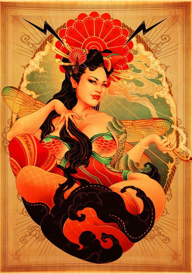 A goddess with dragonfly wings smokes a pipe in this art nouveau pin-up girl illustration by Oneq Nao