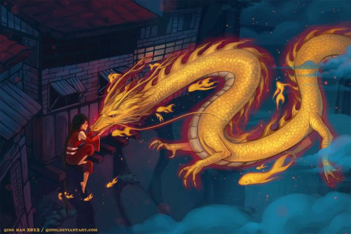 A golden dragon and flying goldfish greet the girl that painted them into being in this art work by Qinni