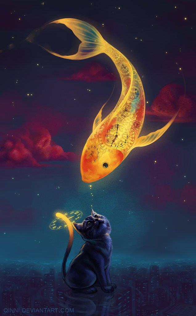 A night time cat greets the great golden sky fish in this fantasy cartoon painting by Qinni