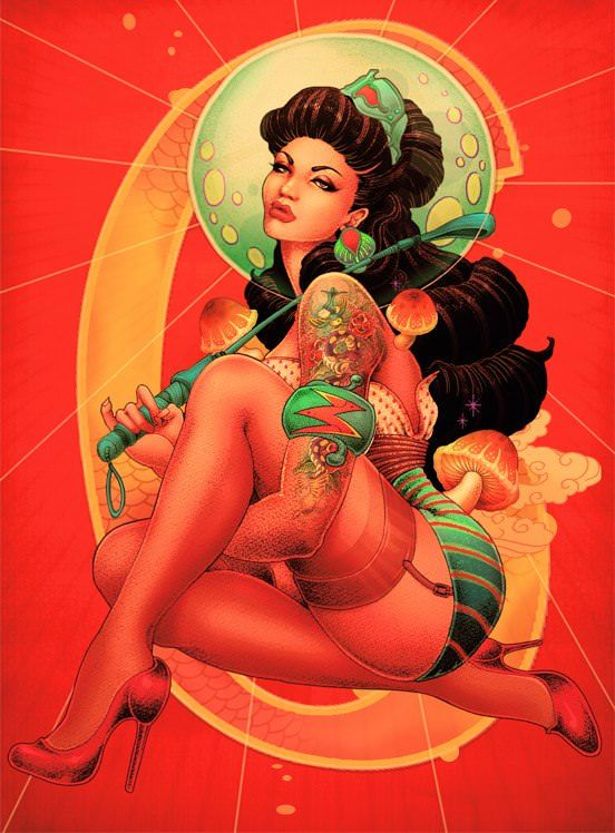 A tattooed diva poses with a riding crop in this American Japanese pin-up girl illustration by Oneq Nao