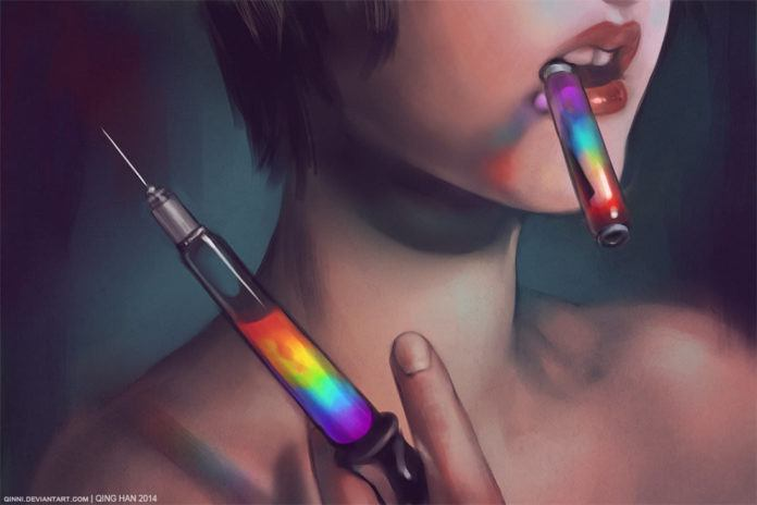 Canadian artist Qing Han creates this controversial painting called Art is my Drug, showing a girl with a syringe filled with rainbow colors