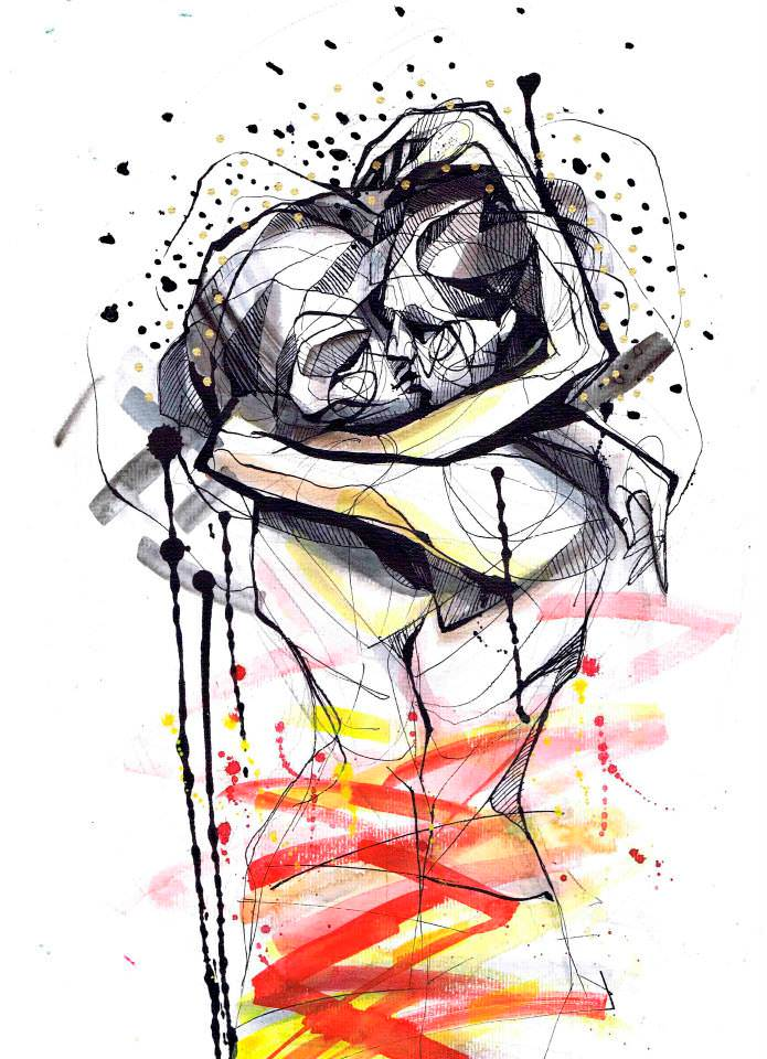 Petra Hlaváčková paints an emotive scene of a couple kissing in black ink and warm watercolors