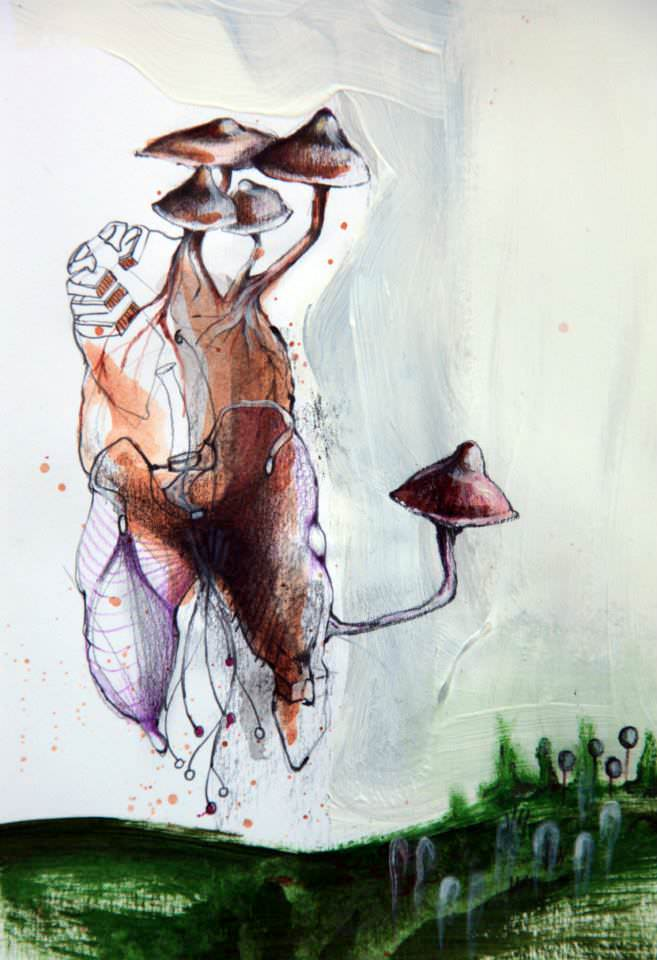 This trippy abstract painting by Arianna Piazza combines nature and anatomy in the form of mushrooms and a human torso