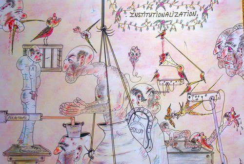 Artistic inmate Charles Bronson shows his views on imprisonment in this painting about his time in psychiatric care.