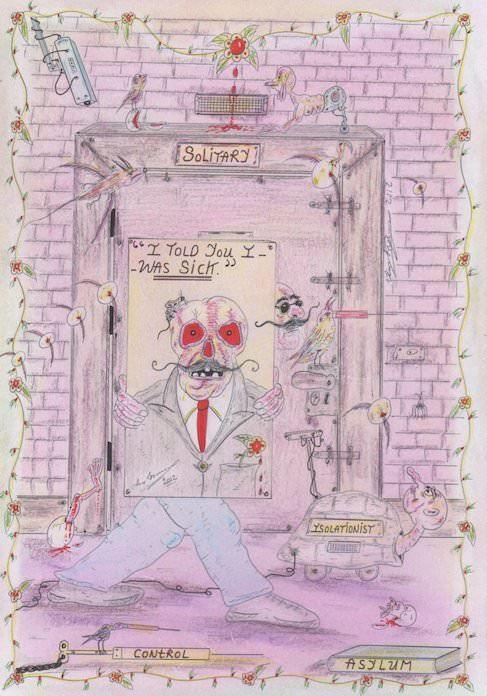 Charles Bronson creates a self portrait of himself in a psychiatric asylum