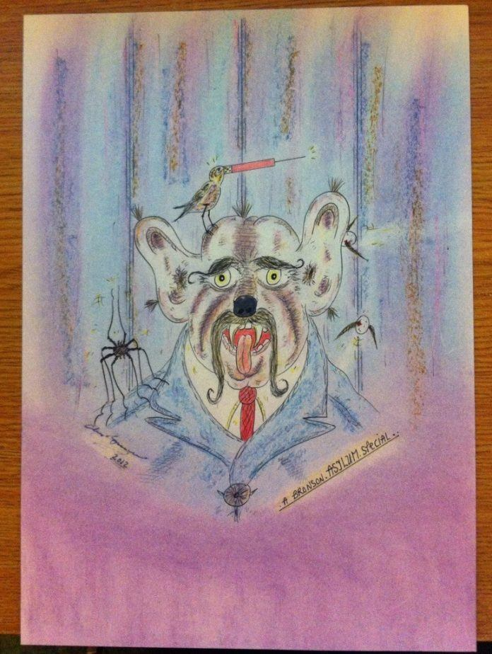This colorful mixed media art work by Charlie Bronson combines his madness violence and humor