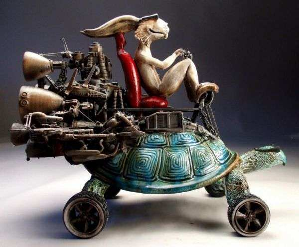 The tortoise and the hare team up to win the race in this funny clay sculpture by Mitchell Grafton
